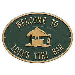 Whitehall Products Tiki Hut Indoor/Outdoor Wall Plaque in Green/Gold