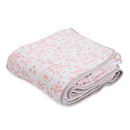 Little Unicorn Garden Rose Cotton Muslin Quilt in Pink/White