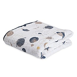Little Unicorn Planetary Cotton Muslin Quilt in Blue/Grey