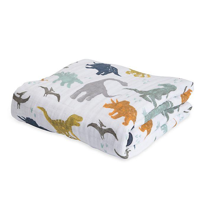 Alternate image 1 for Little Unicorn Dino Friends Cotton Muslin Quilt in Blue/Orange