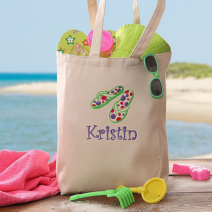 Alternate image 1 for Flip Flop Fun Embroidered Youth Beach Petite Tote