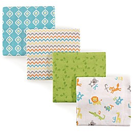 Luvable Friends® Alphabet Flannel 4-Pack Receiving Blanket Set in Green/Blue