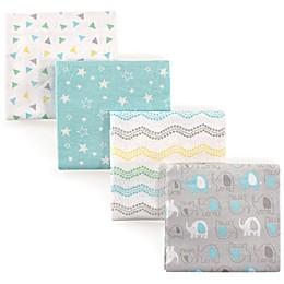 Luvable Friends® Elephant Flannel 4-Pack Receiving Blanket Set in Grey/Blue