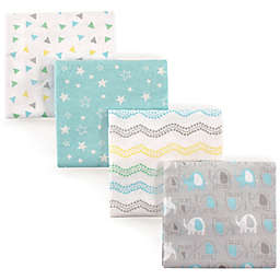 Luvable Friends® Elephant Flannel 4-Pack Receiving Blanket Set in Grey/Blue