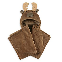 Hudson Baby® Moose Plush Hooded Blanket in Brown