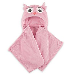 Hudson Baby® Girly Owl Plush Hooded Blanket in Pink