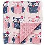 Hudson Baby® Owls Mink Blanket with Dotted Backing in Pink
