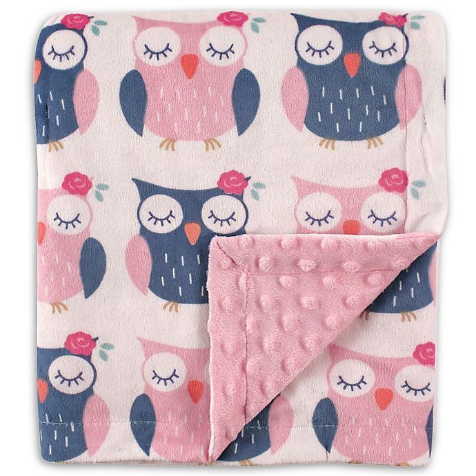 Alternate image 1 for Hudson Baby® Owls Mink Blanket with Dotted Backing in Pink