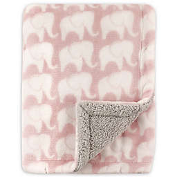 Hudson Baby® Elephants Sherpa-Lined Blanket in Pink/Grey