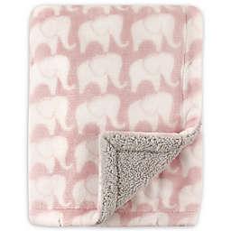 Hudson Baby® Elephants Sherpa-Lined Blanket in Pink/Grey