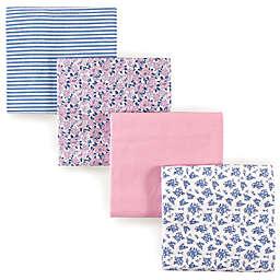 Hudson Baby® Prairie Flowers Flannel 4-Pack Receiving Blanket Set in Blue