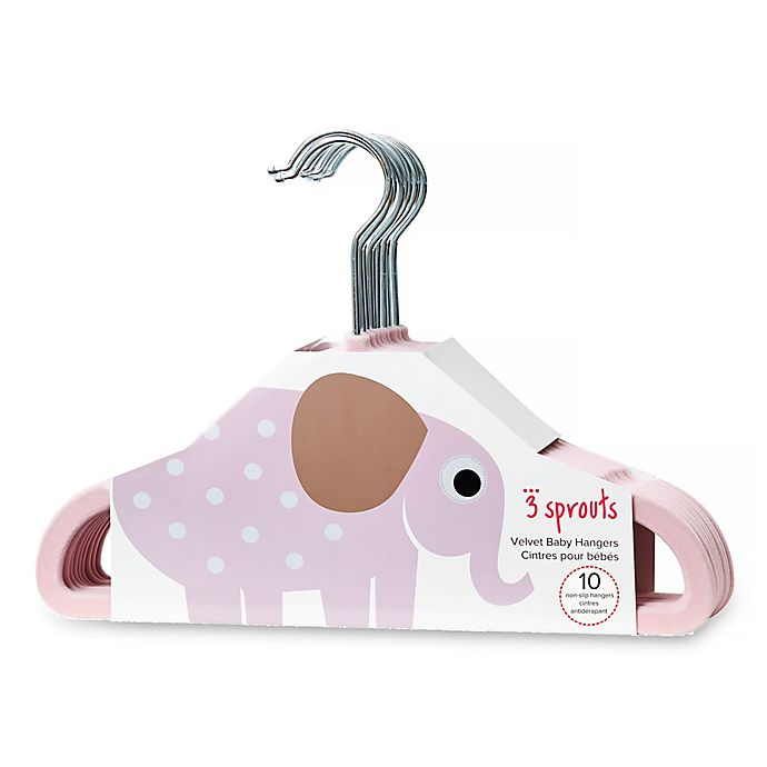 Alternate image 1 for 3 Sprouts 10-Pack Elephant Flocked Children's Hanger in Pink