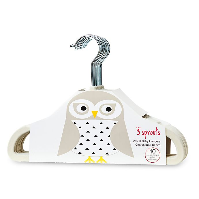 Alternate image 1 for 3 Sprouts 10-Pack Owl Flocked Children's Hangers in Ivory