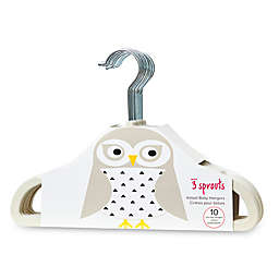 3 Sprouts 10-Pack Owl Flocked Children's Hangers in Ivory