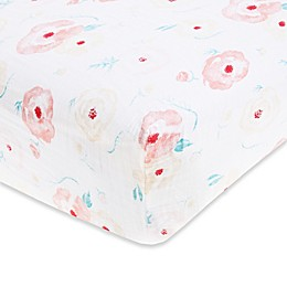 aden® by aden + anais® Full Bloom Cotton Muslin Fitted Crib Sheet in Pink
