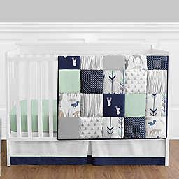 Sweet Jojo Designs Woodsy 4-Piece Crib Bedding Set in Navy/Mint
