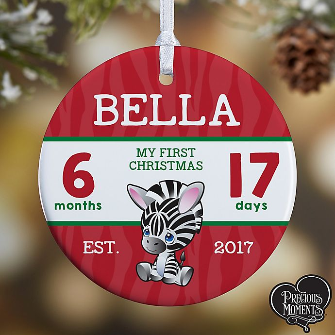 Alternate image 1 for Precious Moments® 1-Sided Baby's First Glossy Christmas Ornament