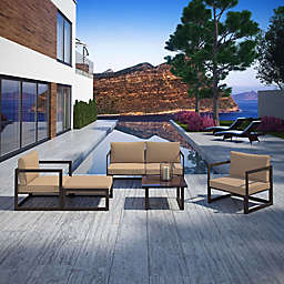 Modway Fortuna Outdoor 6-Piece Sectional Patio Sofa Set in Mocha/Brown