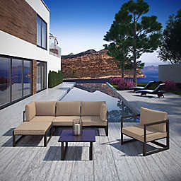 Modway Fortuna Outdoor 6-Piece Sectional Patio Sofa and Chairs Set in Mocha/Brown