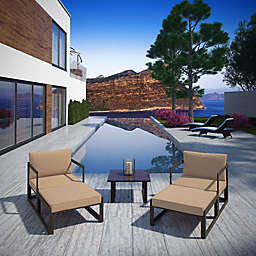 Modway Fortuna Outdoor 5-Piece Patio Conversation Set in Mocha/Brown