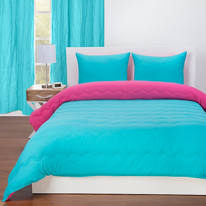 Alternate image 1 for Crayola® Reversible Solid 2-Piece Twin Comforter Set in Turquoise Blue/Hot Magenta
