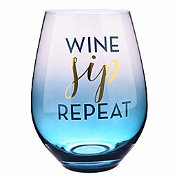 Formations Oversized Wine Sip Repeat Stemless Wine Glass