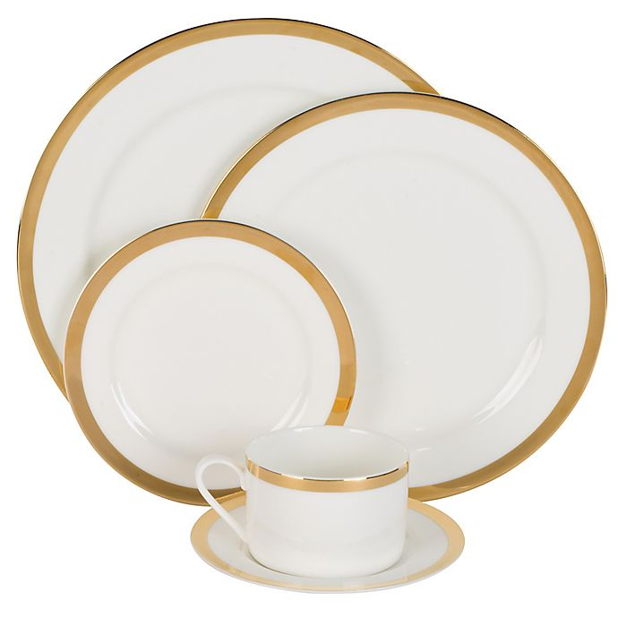 Alternate image 1 for Nevaeh White® by Fitz and Floyd® Grand Rim Wide Band Gold 5-Piece Place Setting
