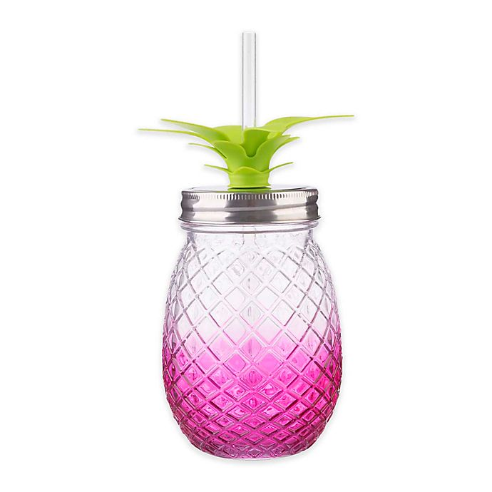 Alternate image 1 for Formations Pineapple Shaped Mason Jar Sipper