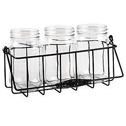 Home Essentials & Beyond 4-Piece Mason Jar Flatware Caddy in Black