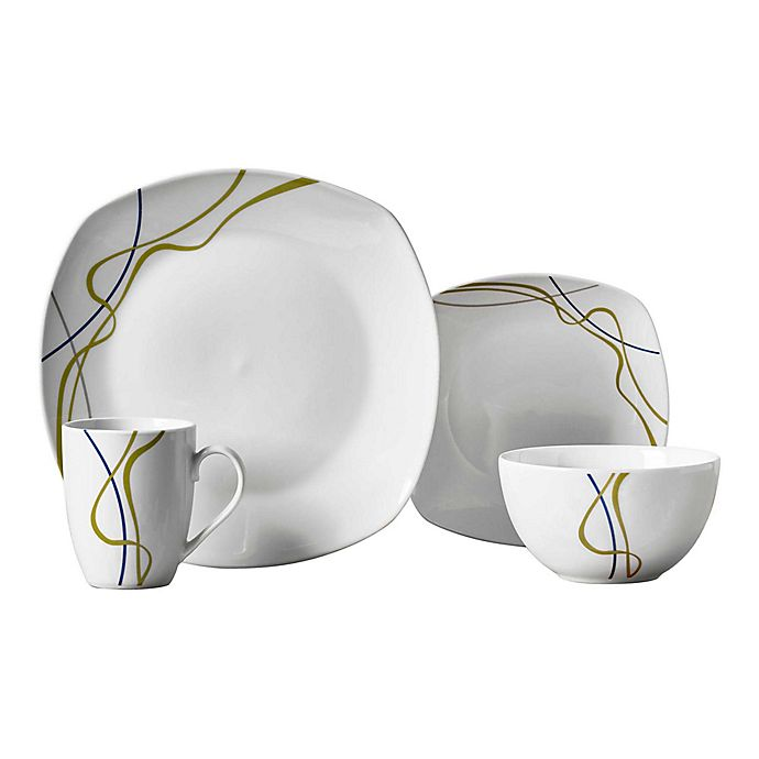 Alternate image 1 for Tabletops Gallery® Hannah 16-Piece Soft Square Dinnerware Set
