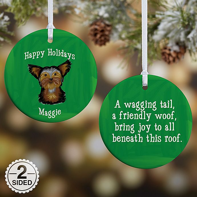 Alternate image 1 for Top Dog Breeds 2-Sided Glossy Christmas Ornament