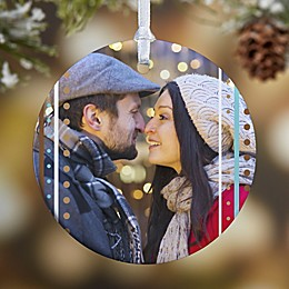 1-Sided Stripe Glossy Photo Christmas Ornament