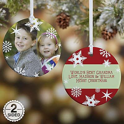 Snowflake 2-Sided Glossy Photo Christmas Ornament