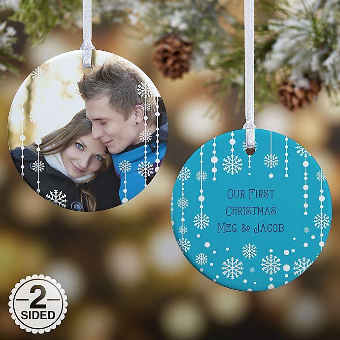 Alternate image 1 for Christmas Snowflake 2-Sided Glossy Photo Christmas Ornament