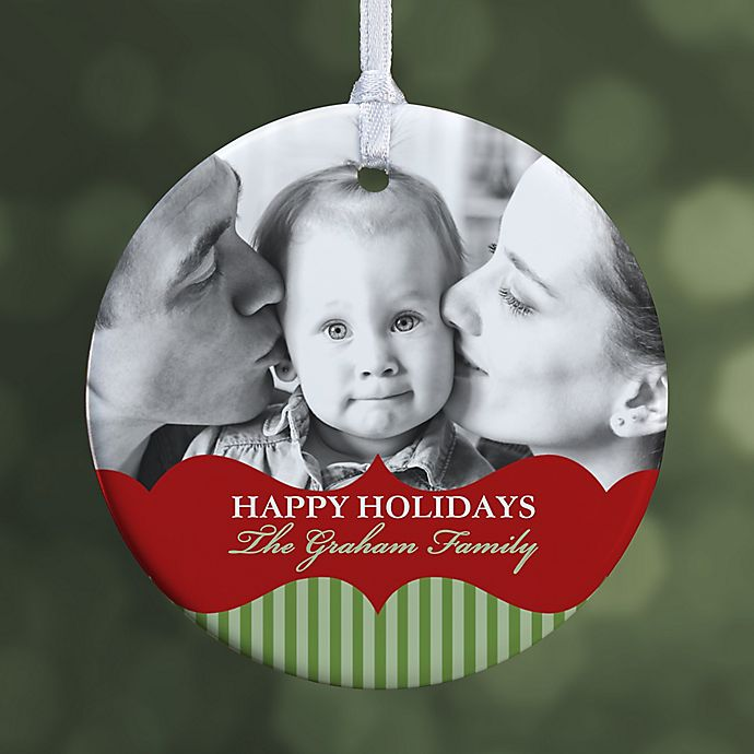 Alternate image 1 for Classic Holiday 1-Sided Glossy Photo Christmas Ornament