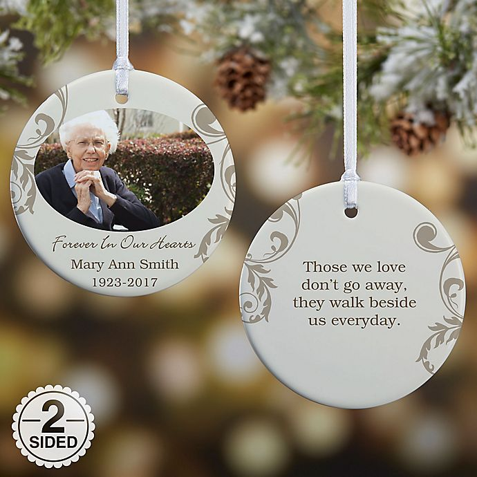 In Loving Memory Photo Memorial Christmas Ornament Collection Bed