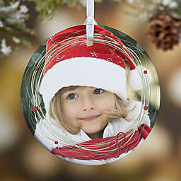 Holiday Wreath 1-Sided Glossy Photo Christmas Ornament
