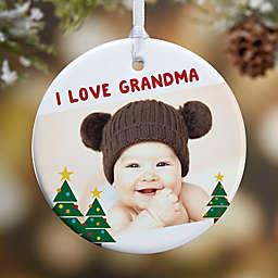 Holiday Hugs & Kisses 1-Sided Glossy Photo Christmas Ornament