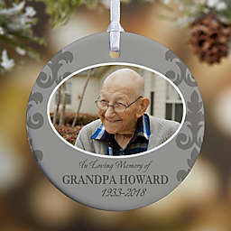 In Loving Memory Photo Memorial 1-Sided Glossy Christmas Ornament For Him