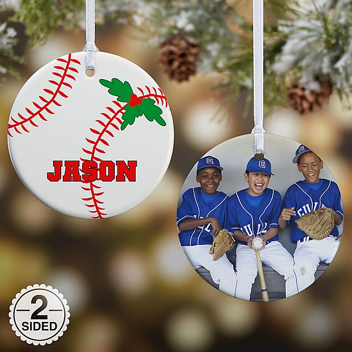 Alternate image 1 for Baseball 2-Sided Glossy Photo Christmas Ornament