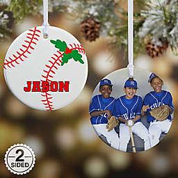 Baseball 2-Sided Glossy Photo Christmas Ornament