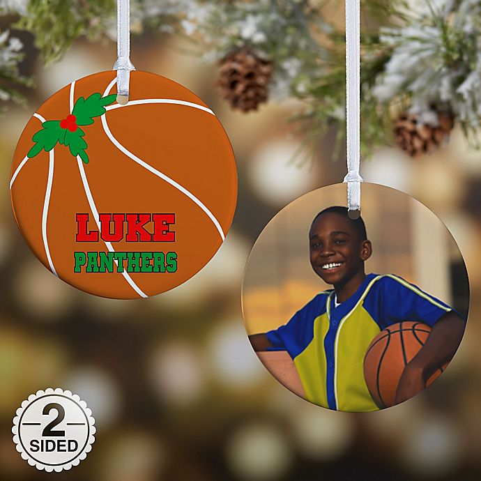 Alternate image 1 for Basketball 2-Sided Glossy Photo Christmas Ornament