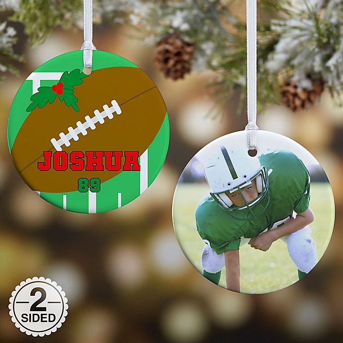 Alternate image 1 for Football 2-Sided Glossy Photo Christmas Ornament