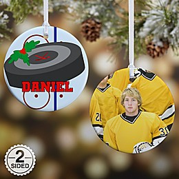 Hockey 2-Sided Glossy Photo Christmas Ornament