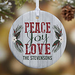 Peace, Joy, Love 1-Sided Glossy Christmas Ornament