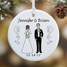 Wedding Party Characters 1-Sided Glossy Christmas Ornament