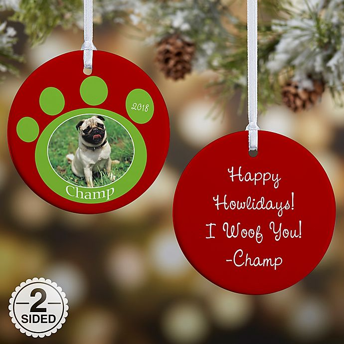Alternate image 1 for Pawprint On Our Hearts Pet 2-Sided Glossy Photo Christmas Ornament