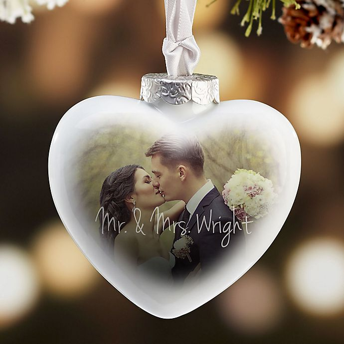Alternate image 1 for Wedding Day Photo Deluxe Heart Christmas Ornament