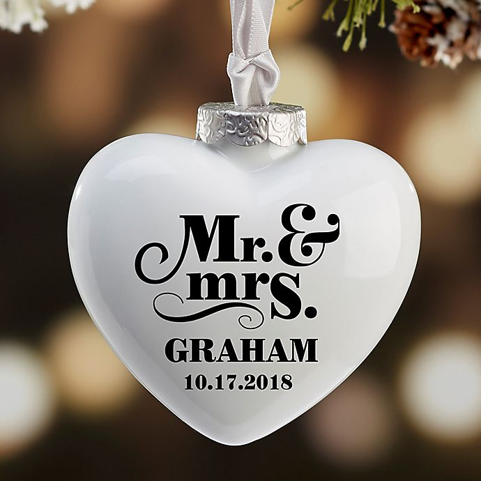 Alternate image 1 for The Happy Couple Personalized Heart Deluxe Ornament