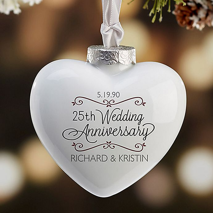 Alternate image 1 for Anniversary Wishes Deluxe Heart Christmas Ornament